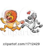 Poster, Art Print Of Cartoon Zebra In Love With And Chasing A Lion