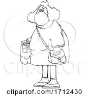 Cartoon Black And White Woman Wearing A Mask And Carrying A Plastic Bag Full Of Fruit