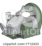 Cartoon Fat Lazy Cat Wearing A Mask Holding A Glass Of Milk And Sitting In A Chair