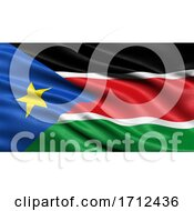 3D Illustration Of The Flag Of South Sudan Waving In The Wind