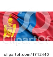 3D Illustration Of The Flag Of Mongolia Waving In The Wind