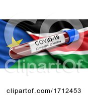 Flag Of South Sudan Waving In The Wind With A Positive Covid 19 Blood Test Tube