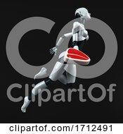 Poster, Art Print Of 3d Feminine Robot On A Black Background