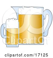 Frothy And Bubbly Mug Of Beer Next To A Pitcher Of Brew Clipart Illustration