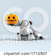 Poster, Art Print Of 3d Round Robot Character On A Shaded Background