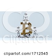 Poster, Art Print Of 3d Robots On A Shaded Background