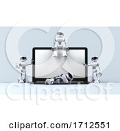 3d Robots On A Shaded Background