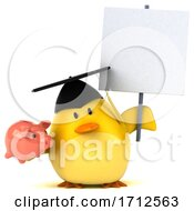 Poster, Art Print Of 3d Chubby Yellow Bird Graduate On A White Background