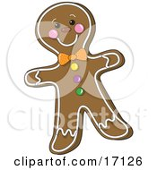 Happy Gingerbread Man Cookie With A Smiling Face Clipart Illustration by Maria Bell
