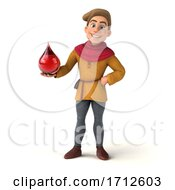 3d Medieval Man On A White Background