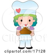 Rainbow Haired Female Chef Or Baker Holding A Freshly Baked Cake Topped With Cream And A Cherry Clipart Illustration by Maria Bell