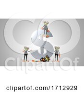 Poster, Art Print Of 3d Green Business Frogs On A Shaded Background