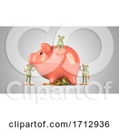 Poster, Art Print Of 3d Green Frogs On A Shaded Background