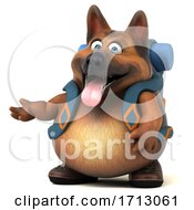 3d German Shepherd Dog Hiker On A White Background
