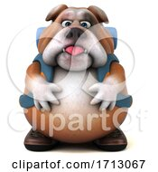 3d Bulldog Backpacker On A White Background