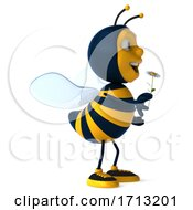 3d Bee On A White Background
