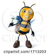 Poster, Art Print Of 3d Hiker Bee On A White Background
