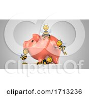 Poster, Art Print Of 3d Bees On A Shaded Background