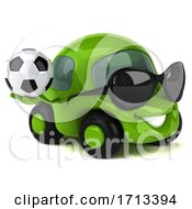 3d Little Green Car On A White Background