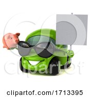 Poster, Art Print Of 3d Little Green Car On A White Background