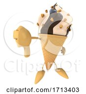 Poster, Art Print Of 3d Ice Cream Mascot On A White Background