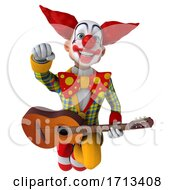 Poster, Art Print Of 3d Funky Clown On A White Background