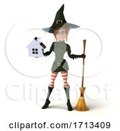 3d Sexy Green Witch On A White Background