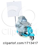 3d White Monkey Yeti Riding A Scooter On A White Background