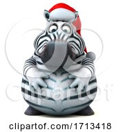 Poster, Art Print Of 3d Christmas Zebra On A White Background