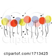 Poster, Art Print Of Cute Vector Illustration Of Multicolored Balloons