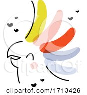 Artistic Vector Illustration Of Cheerful Cockatoo Parrot With Rainbow Crest
