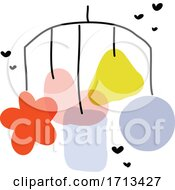 Creative Vector Illustration Of Newborn Baby Mobile Or Bed Bell Toy With Hanging Pastel Decor