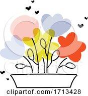 Creative Vector Illustration Of Multicolored Flowers In Garden Pot