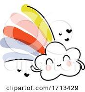 Creative Vector Illustration Of Rain Cloud With Rainbow