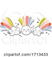 Creative Vector Illustration Of Shining Sun Shooting Star And Rain Cloud With Rainbows