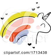 Artistic Vector Illustration Of Cheerful Unicorn With Rainbow Hair