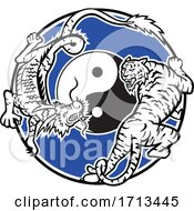 Tiger And Chinese Dragon Stalking And Fighting With Yin Yang