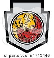 Chinese Red Dragon And Tiger Eye Inside Yin Yang Shield