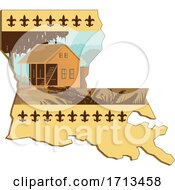Poster, Art Print Of Cajun House And Alligator Or Gator In Foreground Set Inside Outline Of Louisiana