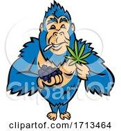 Poster, Art Print Of Blue Gorilla Holding A Bunch Of Blueberry On One Hand And Cannabis Leaf On Other While Smoking A Joint