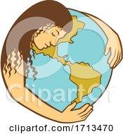 Poster, Art Print Of Mother Earth Hugging World Globe Retro