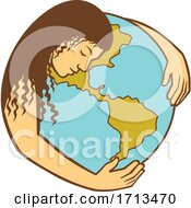 Mother Earth Hugging World Globe Retro