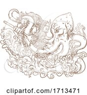 Poster, Art Print Of Neptune Ighting Giant Octopus