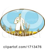 Scientist Standing In Middle Of Genetically Modified Wheat Field