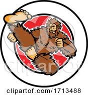 Poster, Art Print Of Bigfoot-Taekwondo-Flying-Kick-Circ-Mascot