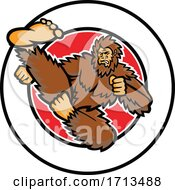 Bigfoot Taekwondo Flying Kick CIRC MASCOT