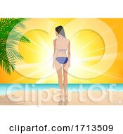 Rear View Of A Woman On A Tropical Beach At Sunset
