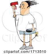 Cartoon Man Doing A Comb Over