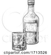 05/10/2020 - Drinks Glass And Bottle In Vintage Woodcut Style