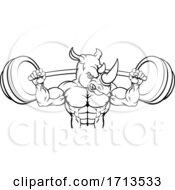 Poster, Art Print Of Rhino Mascot Weight Lifting Barbell Body Builder